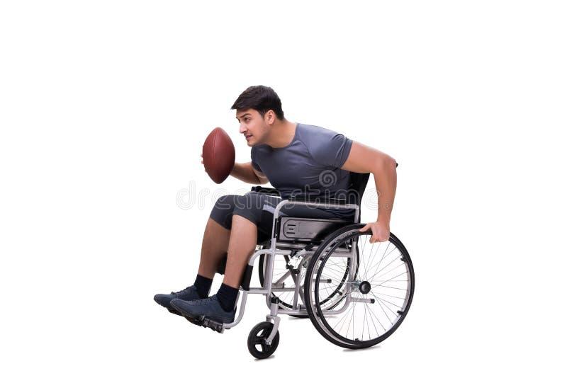 Fotbollsspelaren som återställer från skada på rullstolen arkivfoto