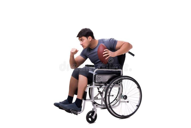 Fotbollsspelaren som återställer från skada på rullstolen arkivfoton