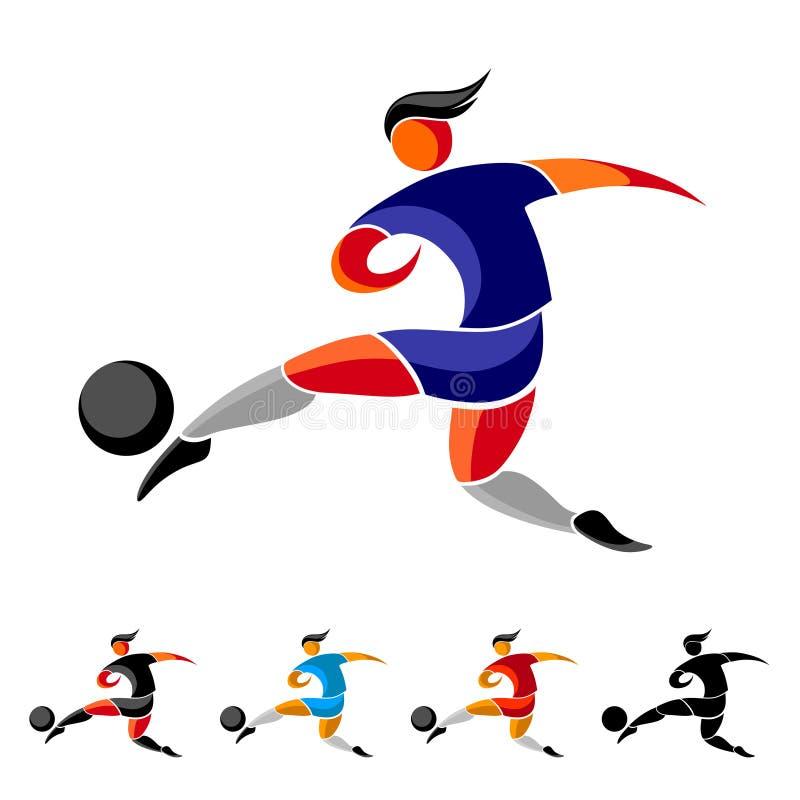 Fotbollsspelaren sparkar bollen vektor illustrationer