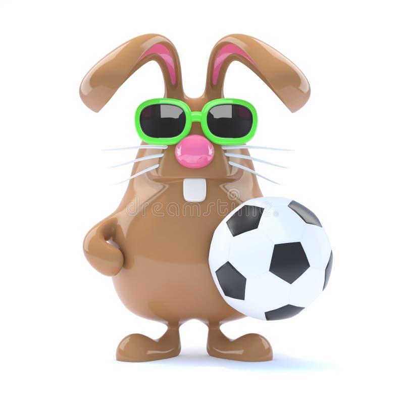 fotbollstjärna för kanin 3d stock illustrationer