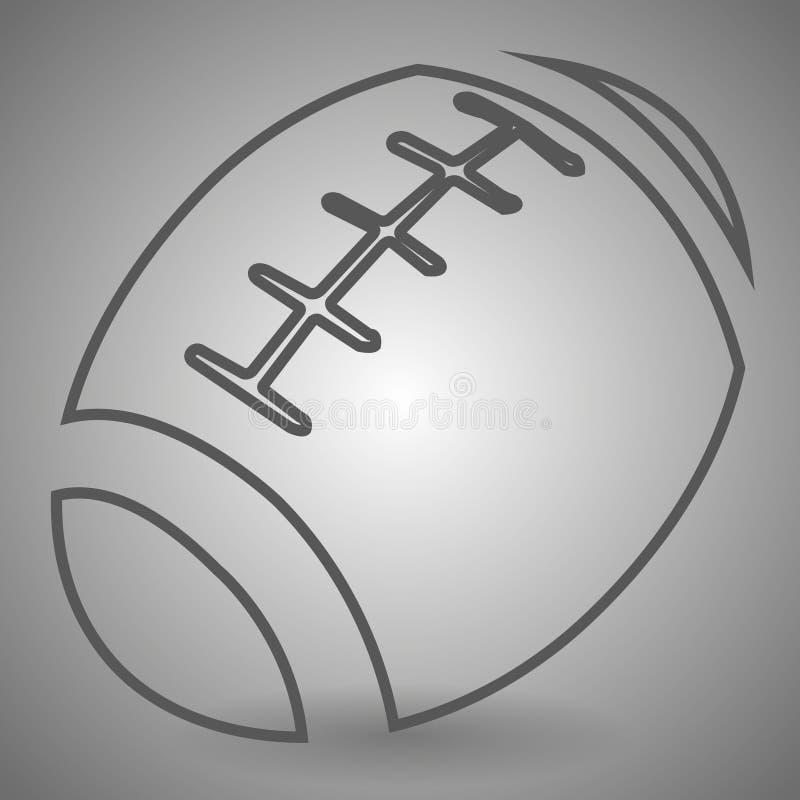 Fotbollsymbol i tunn översiktsstil Illustration för symbol för boll för amerikansk fotboll linjär på grå bakgrund arkivbilder