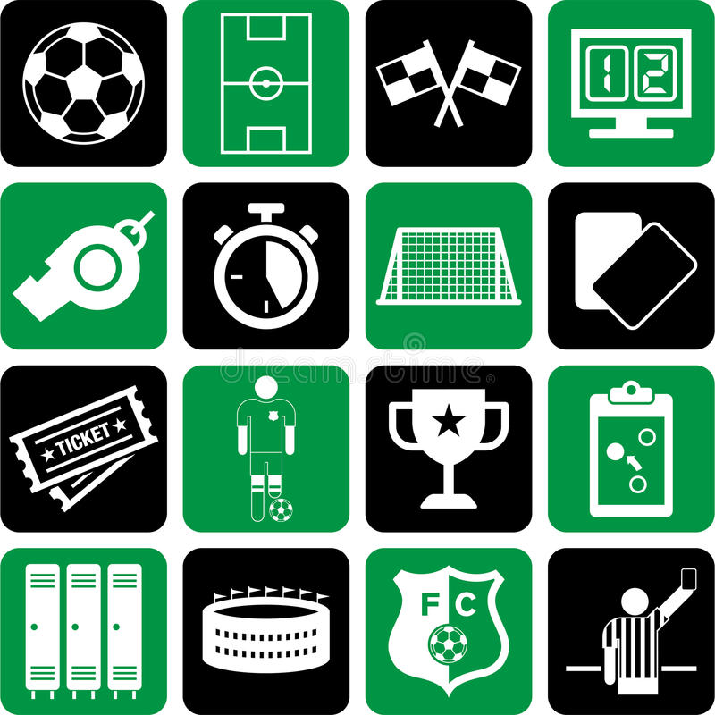 Fotbollsymboler stock illustrationer
