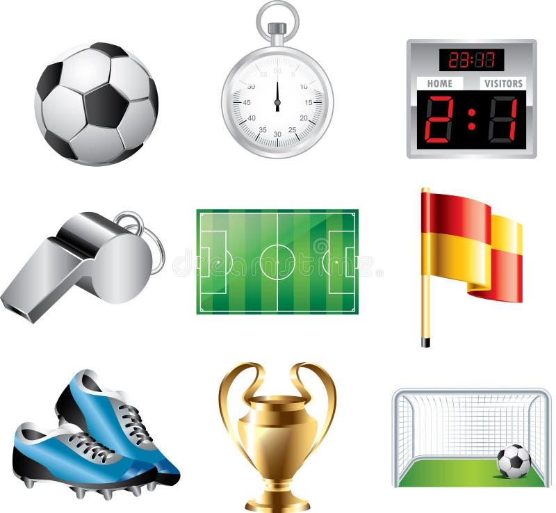 Fotbollsymbolsuppsättning stock illustrationer