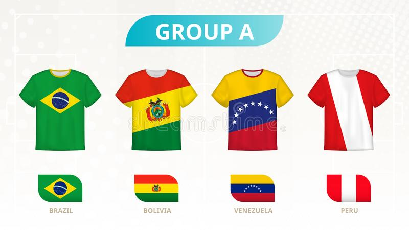 Fotbollt-skjorta med flaggor, lag av grupp A: Brasilien Bolivia, Venezuela, Peru stock illustrationer