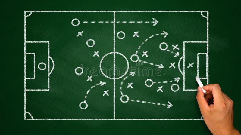 fotbolltaktik på den svart tavlan royaltyfri foto