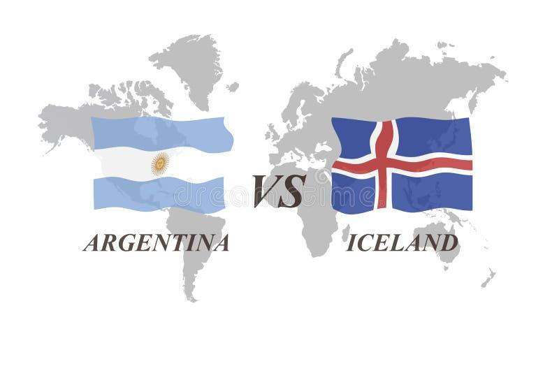 Fotbollturnering Ryssland 2018 grupp D Argentina vs Island stock illustrationer