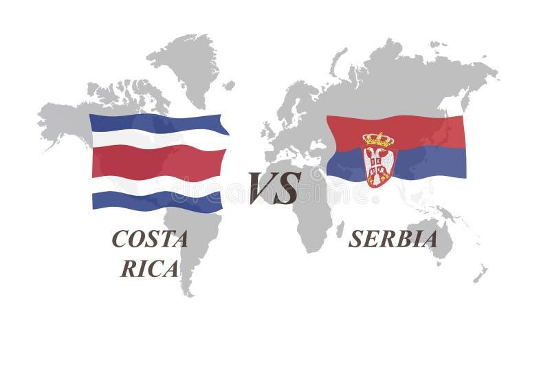 Fotbollturnering Ryssland 2018 grupp E Costa Rica vs Serbien vektor illustrationer