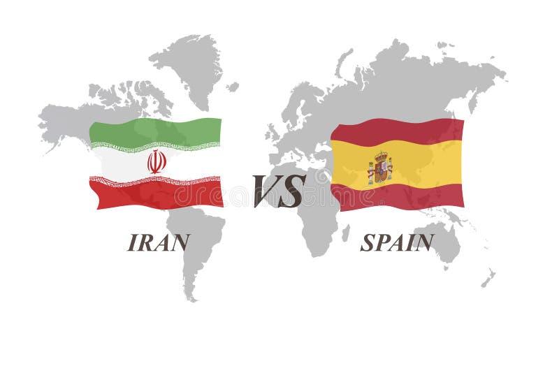 Fotbollturnering Ryssland 2018 Gruppera B Iran vs Spanien vektor illustrationer