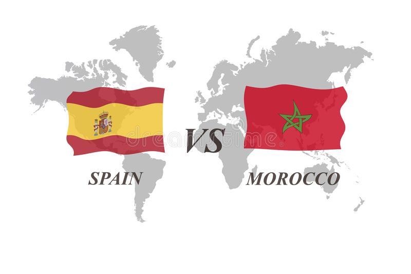 Fotbollturnering Ryssland 2018 Gruppera B Spanien vs Marocko stock illustrationer
