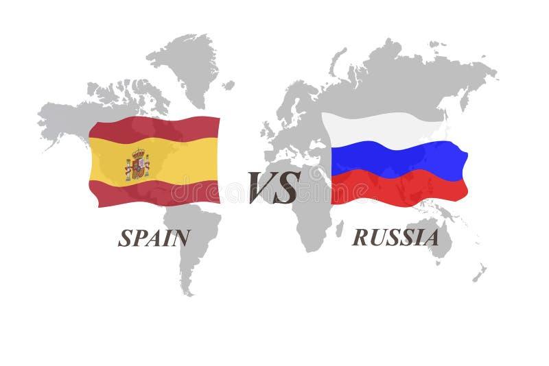 Fotbollturnering Ryssland 2018 Spanien vs Ryssland stock illustrationer