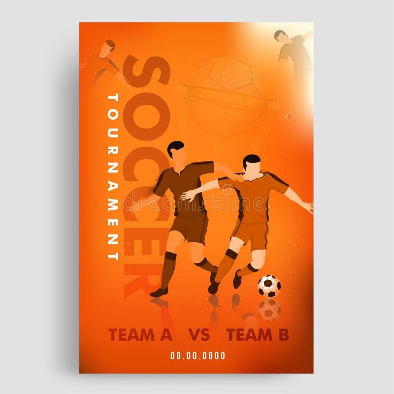 Fotbollturneringmall eller reklambladdesign med fotbollsspelareteckenet av konkurrenskraftigt lag A, B vektor illustrationer