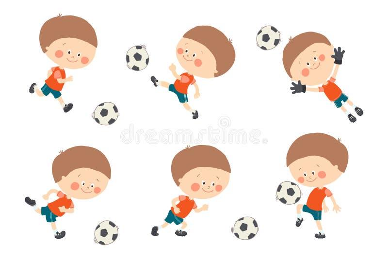 Fotbollungeuppsättning Gullig caucasian pojke som spelar fotboll i röd och blå sportlikformig M?lvakt som f?ngar en fotbollboll royaltyfri illustrationer