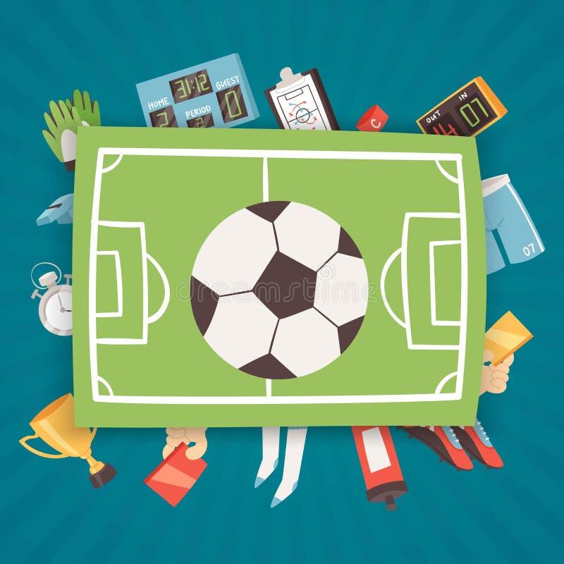 Fotbollutrustning och illustration för tillförselbanervektor Fotboll ställde in av symboler med fältet, bollen, trofén, funktions royaltyfri illustrationer