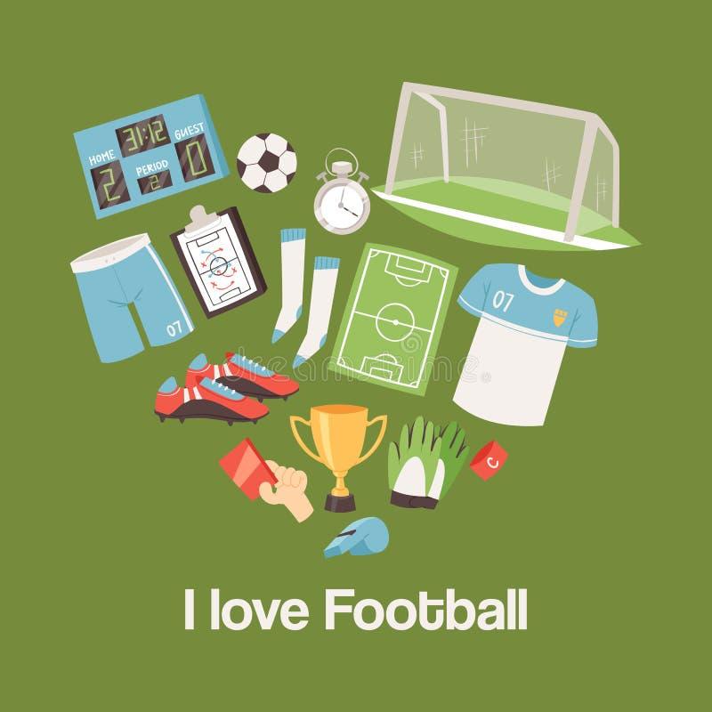 Fotbollutrustning och illustration för tillförselbanervektor Fotbollförälskelse ställde in av symboler med fältet, bollen, trofé vektor illustrationer