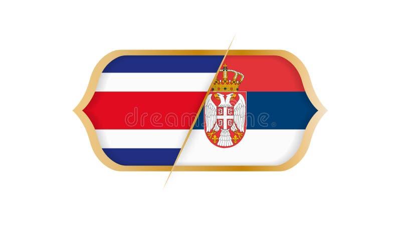 Fotbollvärldsmästerskap Costa Rica vs Serbien också vektor för coreldrawillustration royaltyfri illustrationer