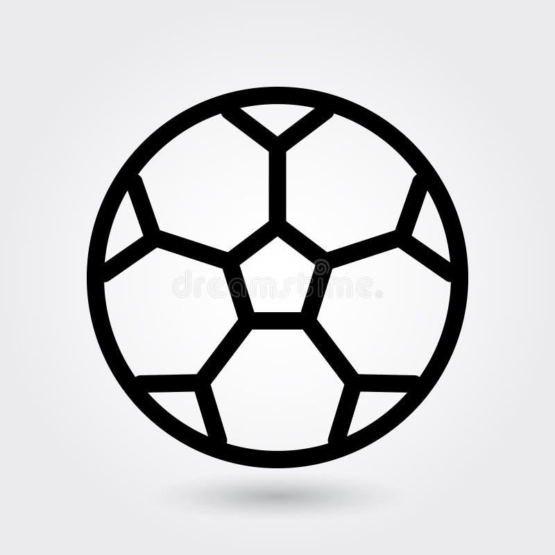 Fotbollvektorsymbolen, symbolen för fotbollbollen, sportar klumpa ihop sig symbol Modern enkel översikt, översiktsvektorillustrat vektor illustrationer