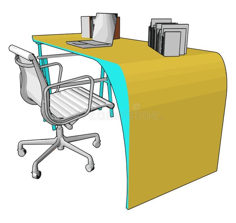 Fotel biurowy i wektor stołowy lub kolorowa ilustracja ilustracji