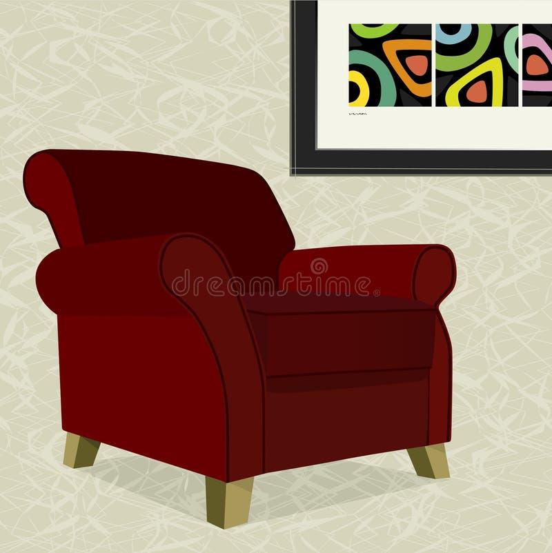 fotel czerwony aksamit ilustracja wektor