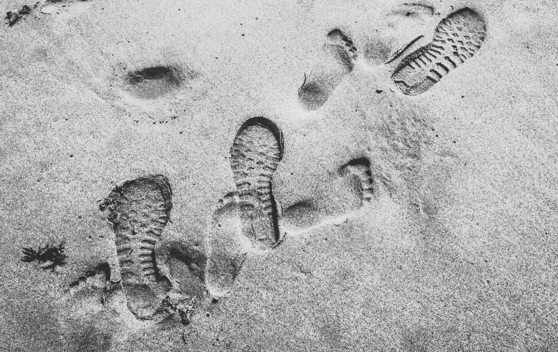 Fotfläckar i sanden royaltyfri bild