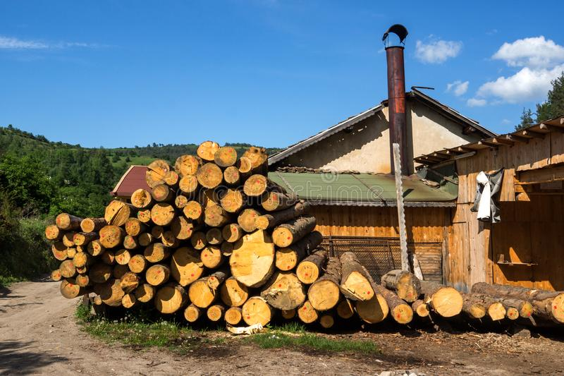Fotinovo村庄典型的街道在Rhodopes山,帕扎尔吉克地区,保加利亚的 免版税库存照片