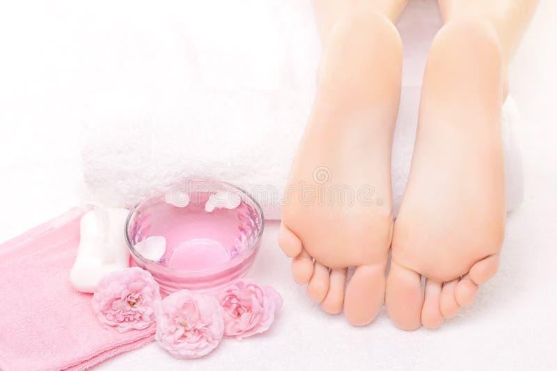 Fotmassage i brunnsorten med rosa färgrosen royaltyfri foto