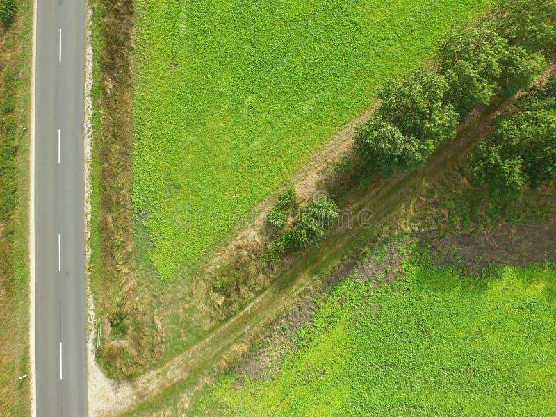 Foto aérea abstracta, camino con la trayectoria diagonalmente de ramificación con imagenes de archivo