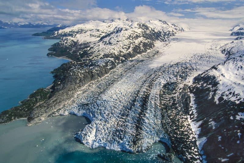 Foto aérea da baía de geleira de Alaska fotos de stock