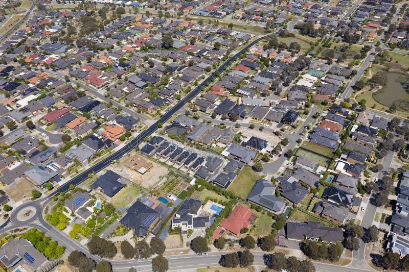 Foto aérea de casas en un suburbio en Melbourne foto de archivo