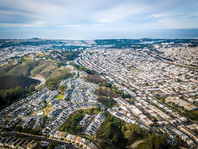 Foto aérea de Daly City em Califórnia imagem de stock royalty free