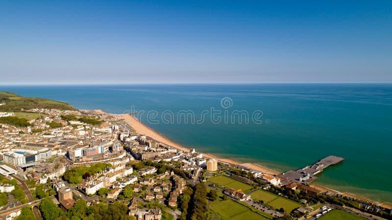 Foto aérea de Hastings, Sussex del este, Inglaterra foto de archivo libre de regalías