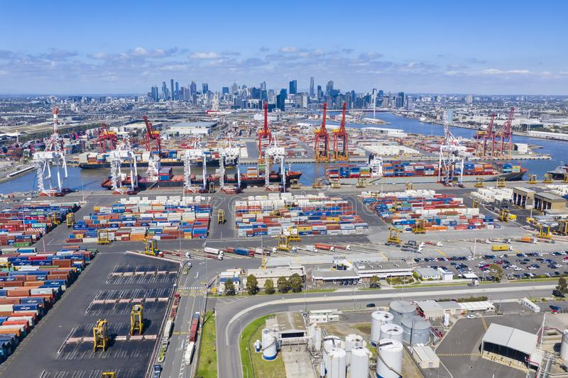 Foto aérea de la terminal de contenedores en Melbourne, Australia foto de archivo
