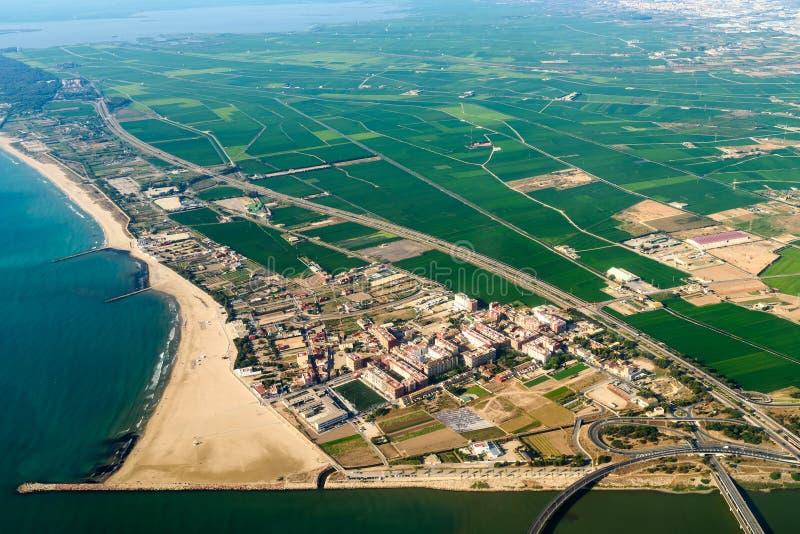 Foto aérea de Valencia City Surrounding Areas In España imágenes de archivo libres de regalías