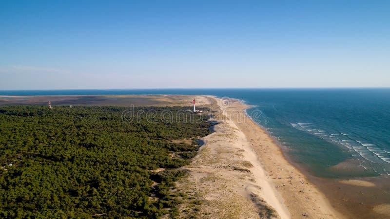 Foto aérea del La Coubre del faro en el La Tremblade fotografía de archivo libre de regalías