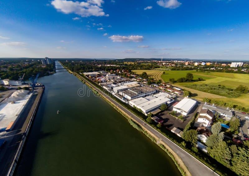 Foto aérea del paisaje cerca del canal de principal-Danubio cerca de Erlangen en Baviera fotografía de archivo libre de regalías