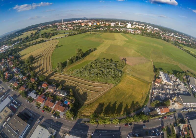 Foto aérea del paisaje cerca del canal de principal-Danubio cerca de Erlangen en Baviera imagen de archivo