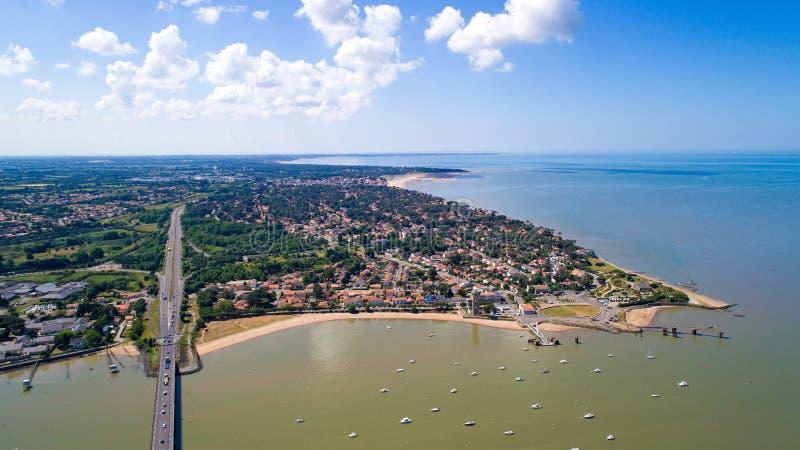 Foto aérea dos pinos de Brevin Les de Saint fotos de stock royalty free