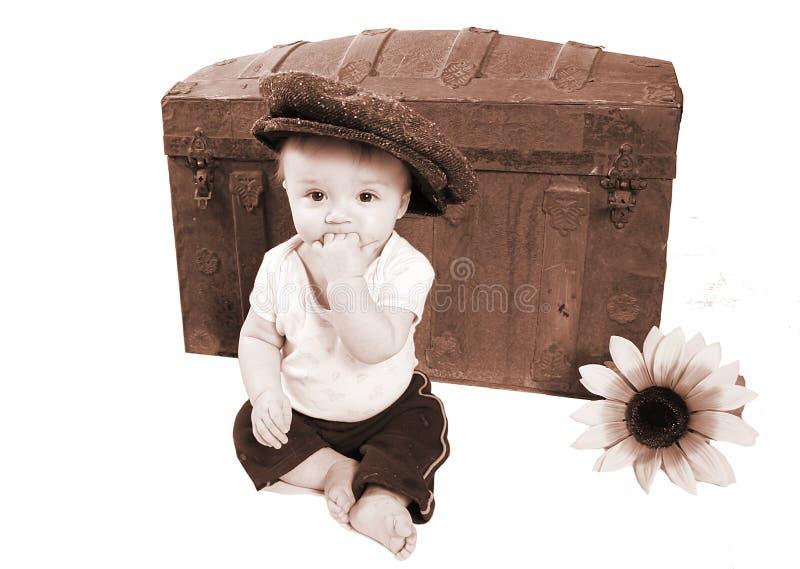 Foto adorabile del bambino dell'annata fotografia stock