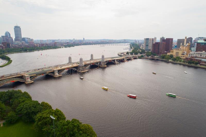 Foto aerea Charles River Boston U.S.A. del fuco fotografia stock libera da diritti