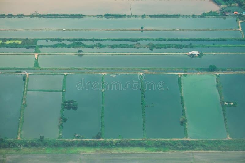 Foto aerea da una vista piana e superiore, dalle strade del campo e da un campo verde fotografie stock libere da diritti