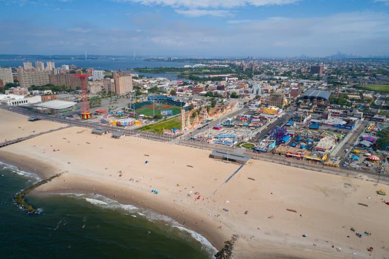Foto aerea del fuco di Coney Island New York fotografia stock libera da diritti