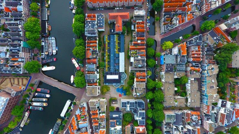Foto aerea di un distretto residenziale a Amsterdam immagini stock libere da diritti