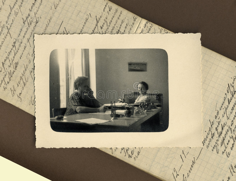 Foto antiga do original 1950 - clercks fotografia de stock