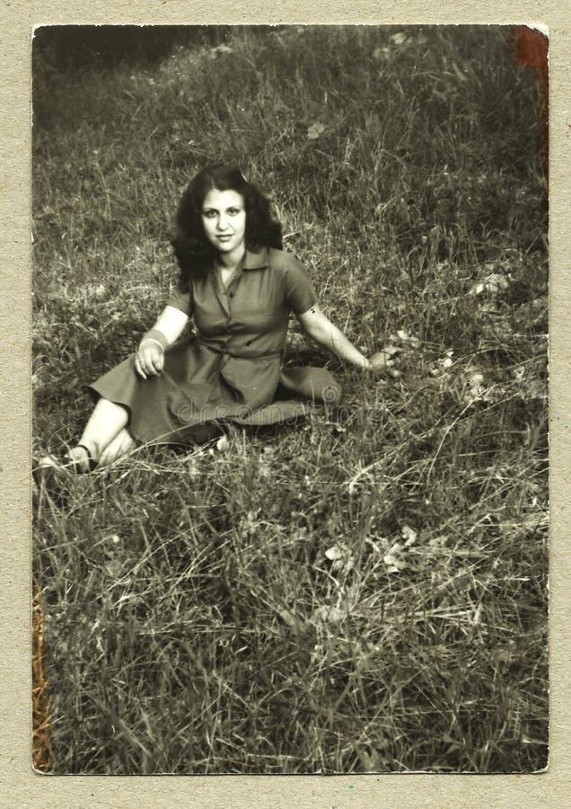 Foto antiga original - rapariga imagens de stock