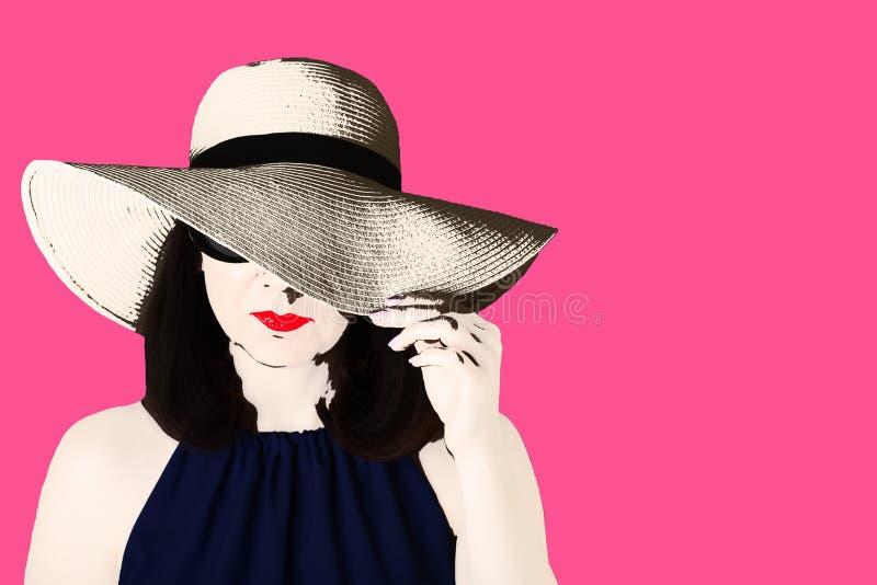 Foto ao estilo do pop art Mulher no vestido azul e no sol preto fotografia de stock