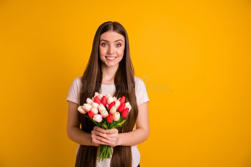 Foto ascendente próxima bonita surpreendendo a ela feriado vermelho branco muito longo da surpresa das tulipas das flores frescas imagens de stock