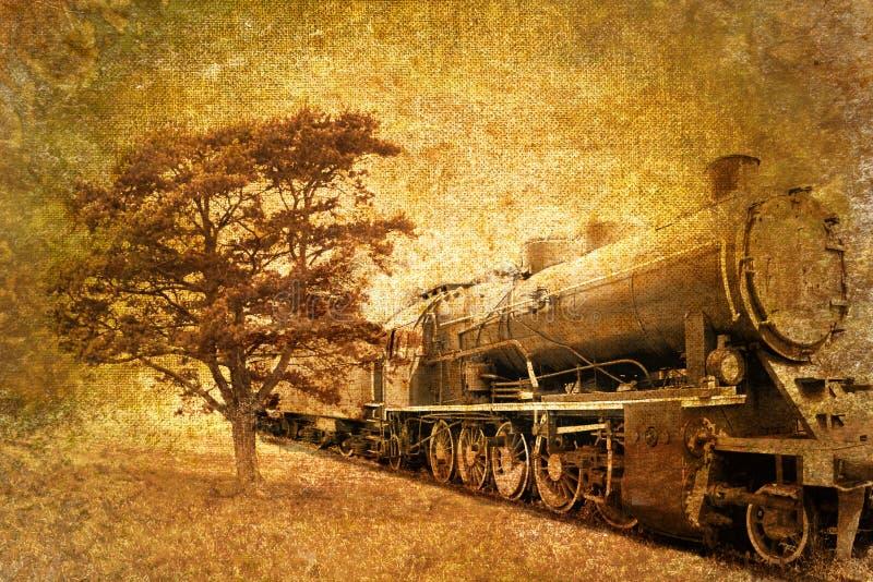 Foto astratta dell'annata del treno del vapore illustrazione di stock
