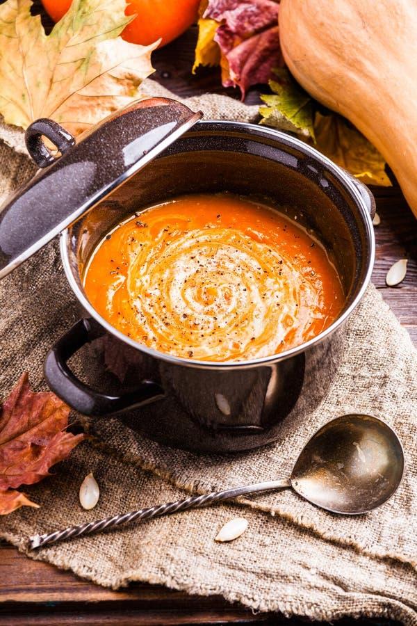 Foto av användbar soppapuré, pumpa på linnetorkduken royaltyfria foton