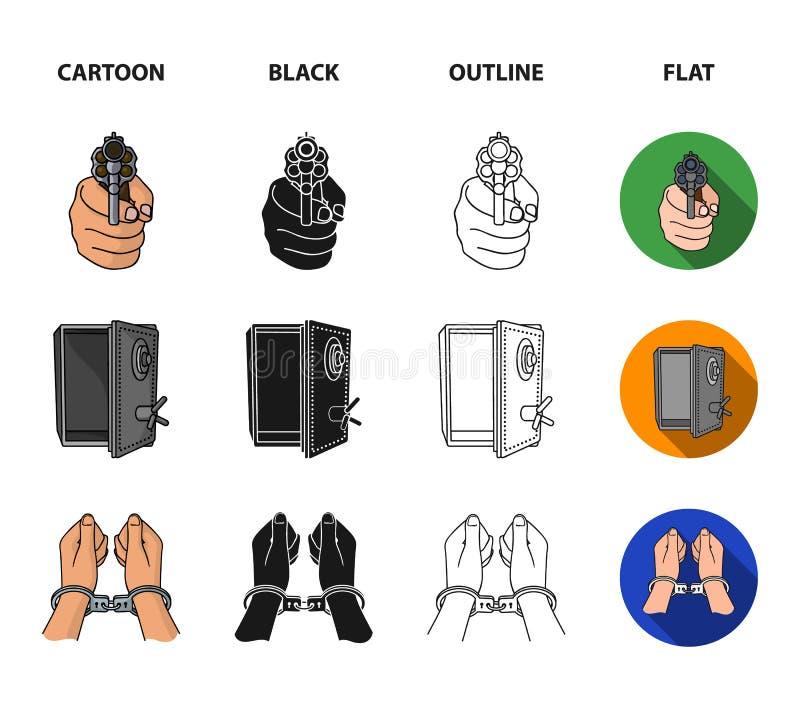 Foto av brottslingen, rest, öppet kassaskåp, riktningsvapen Fastställda samlingssymboler för brott i tecknade filmen, svart, över vektor illustrationer