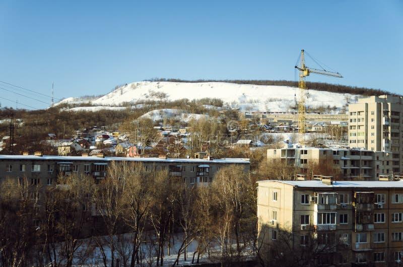 Foto av cityscapen Foto som tas i vintern royaltyfria foton