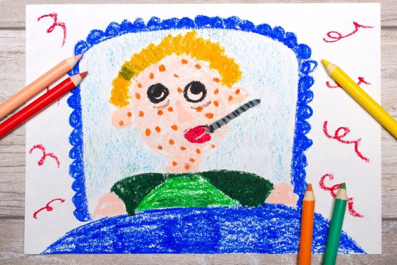 Foto av den färgrika teckningen: den ledsna sjuka pojken ligger i en säng royaltyfria foton